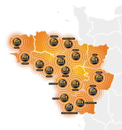 Carte du réseau Hit West, une radio commercialisée par Régie Radio Régions