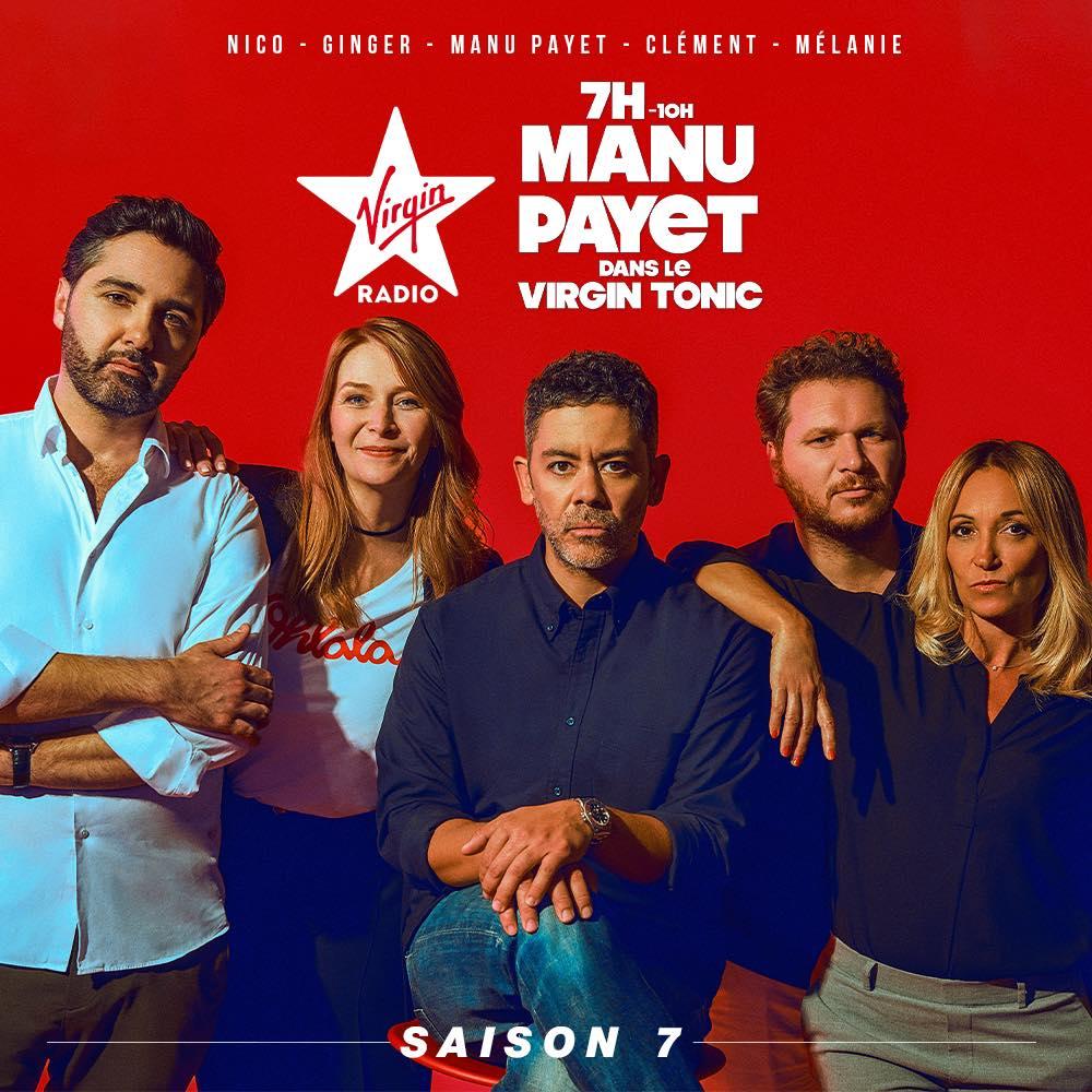 Affiche de l'équipe du Virgin Tonic avec Manu Payet sur Virgin Radio une radio commercialisée par Régie Radio Régions