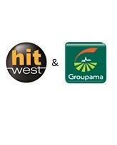 Logo de Groupama et de Hit West, une radio commercialisée par Régie Radio Régions