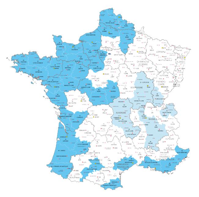 Carte de France de l'activité de Régie Radio Régions