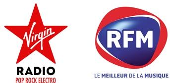 Logos de Virgin Radio et RFM, deux radios commercialisées par Régie Radio Régions arrive en région Grand Est