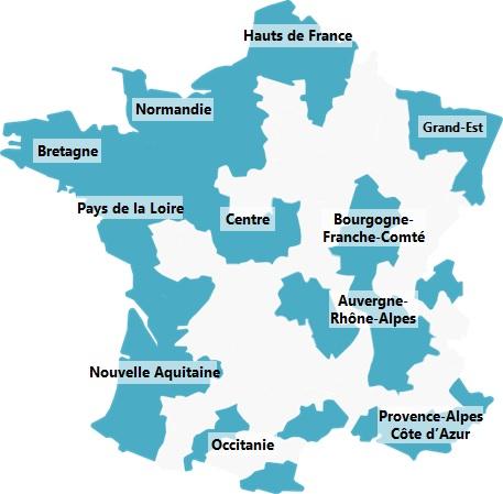 Carte de France, en bleu les départements sur lesquels Régie Radio Régions est présent