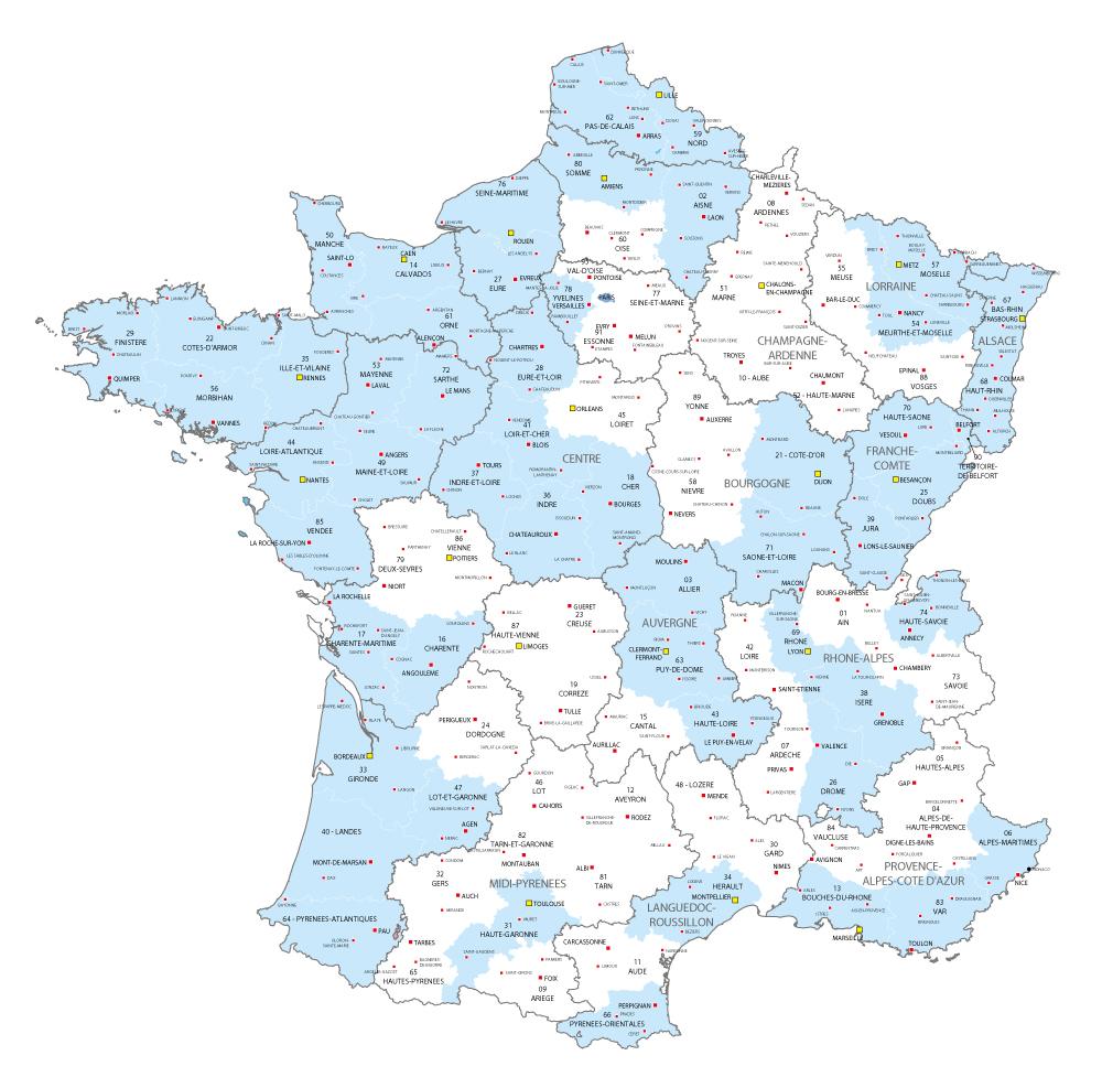 Carte de France des départements où Régie Radio Régions commercialise des stations