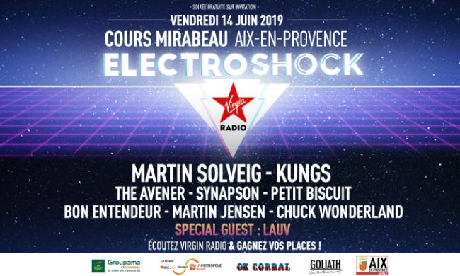 Affiche de l'Electroshock Virgin Radio Aix-en-Provence commercialisé par Régie Radio Régions